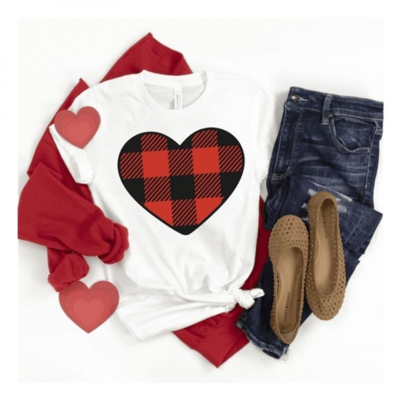 Hearts Tee Shirt, Buffalo Plaid, Valentine Style