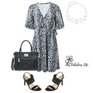 Snakeskin Print Wrap Dress, Spring Outfit