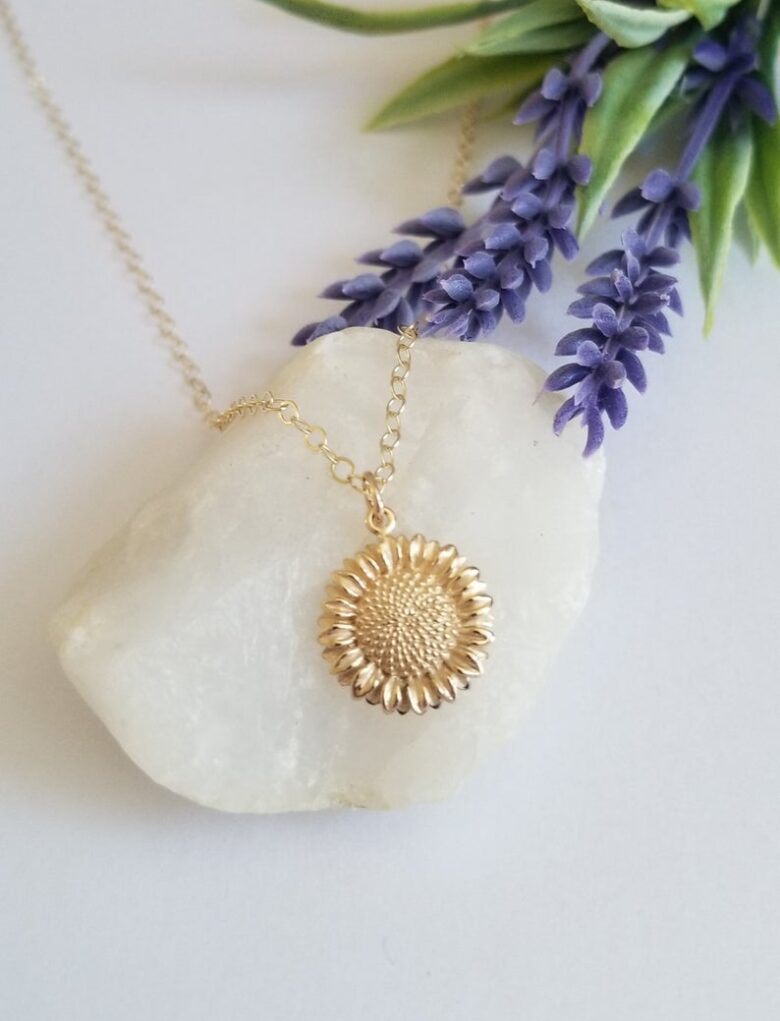 Gold Sunflower Char Necklace