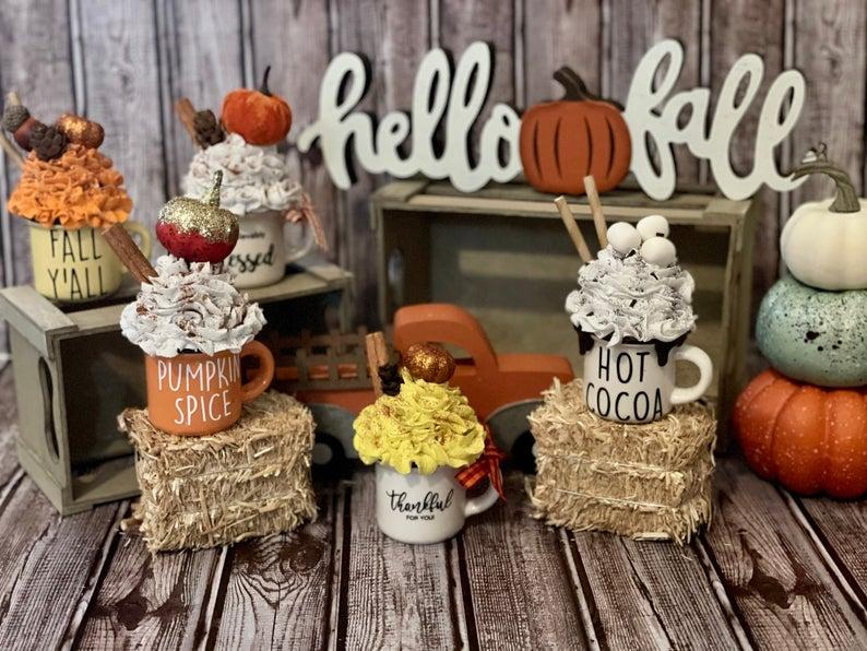 Cute Fall mini mugs for home decor