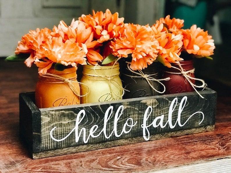 Hello Fall Flower Tabletop Centerpiece